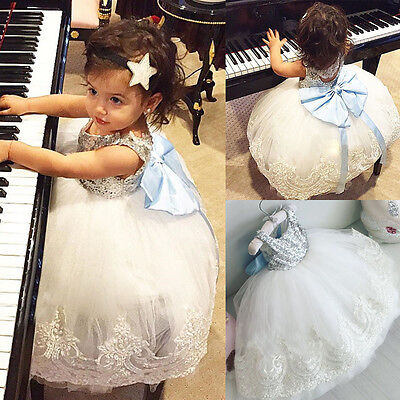 UK Fancy Toddler Girl Baby Kids Lace Bow Dress Party Wedding Gown Formal Dresses