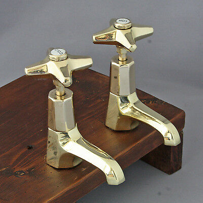 Original Art Deco Brass Basin Taps