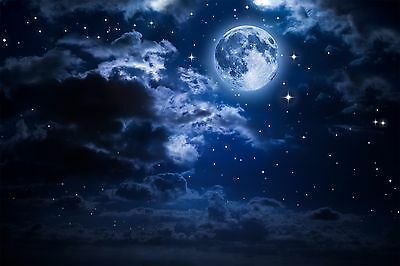 Full Moon Stary Night Clouds Wall Mural Photo Wallpaper GIANT WALL DECOR