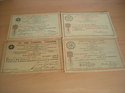 4 St.John's Ambulance Cardboard Certificates From The Early 20th Century