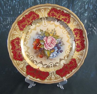 AYNSLEY CABINET PLATE=Signed J.A. Bailey=England=Pink Rose=Flowers=STUNNING!!!