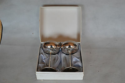 Vintage Arther Price Pair Of Silver Champagne Goblets Boxed