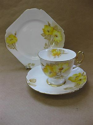Vintage Shelley China Trio ~ Yellow Dog Rose & Gilt ~ c.1932
