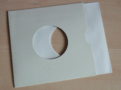 """50 of 7"""" vinyl record white paper sleeves 90 gsm with 50 7"""" card sleeves"""