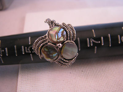 """Vintage Abalone Shell Silvertone 6 To 7"""" Adjustable Ring"""