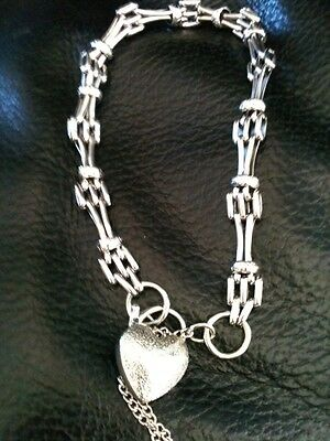 9ct Solid White Gold Bracelet with Heart Locket & Security chain