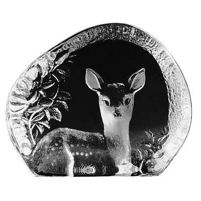 Fawn Hand-Etched - Swedish Crystal Sculpture By Mats Jonasson (18447)