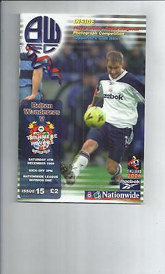 Bolton Wanderers v Tranmere Rovers Football Programme 1999/00