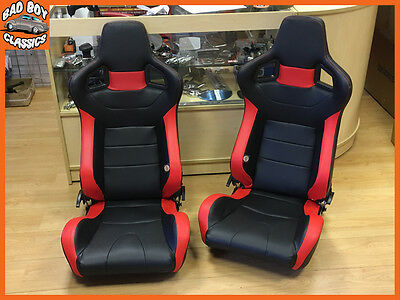 Pair BB6 Reclining Tilting Bucket Sports Seats Black / Red + Universal Runners