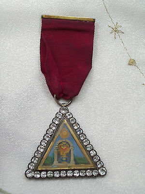 Rare Antique Georgian Silver Paste Hand Painted Masonic Jewel Medal Red Ribbon