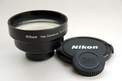 Nikon Teleconverter Tele Converter TC-E2 2x - for Coolpix Cameras. WITH CAPS VG+