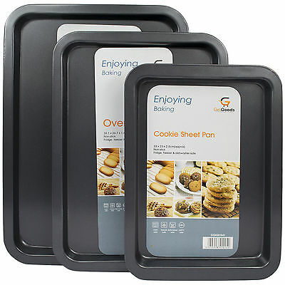 Set Of 3 Oven Trays Non Stick Bakeware Cooking Baking Roasting Flat Bake Tins