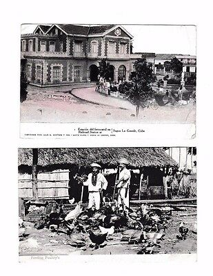 Pair Cuban Cuba Railway Station & Chicken Poultry Farmers Early Postcards 1909