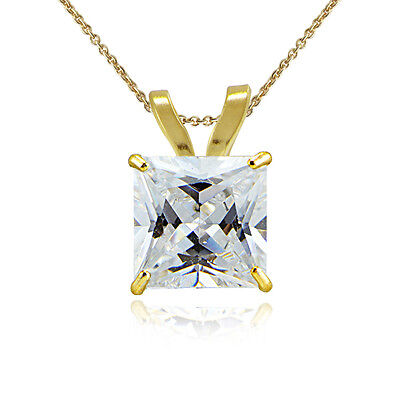 14K Yellow Gold 1.25 CTTW Cubic Zirconia Square Solitaire Necklace, 6mm