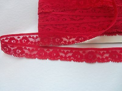 10 mtr x 2cm wide red lace trim sewing job lot  crafts
