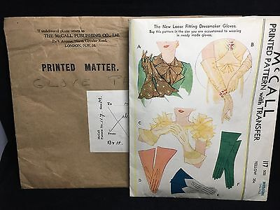 Vintage USA 1930s 1940s McCall PRINTED PATTERN 117 Size Medium DRESSMAKER GLOVES
