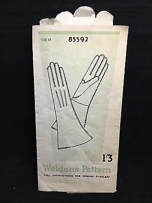Vintage 1930s 1940s 1950s WELDONS PATTERN 85592 Size 6.5 LADIES WOMENS GLOVES