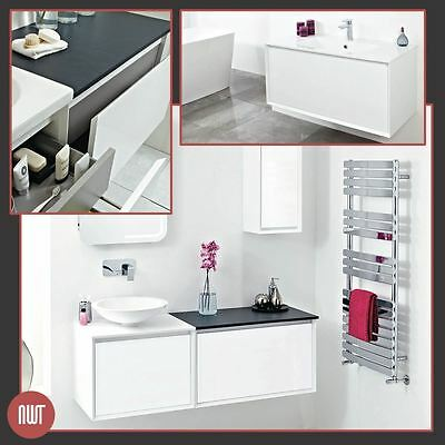 """Zeus"" White Designer Wall Hung Bathroom Furniture (4 Worktop OR Basin Choices)"