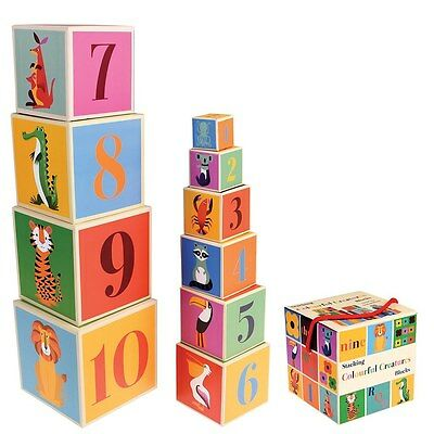 Rex London 10 X COLOURFUL CREATURES STACKING BLOCKS