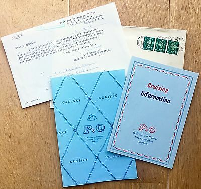 Original 1958 P&O Cruising information booklet, wallet, receipt & envelope