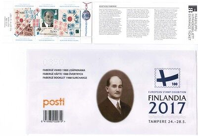 2017 Finland Fabergé 1988 booklet with Finlandia 2017 overprint MNH