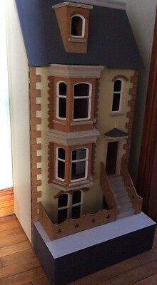 Hand Crafted 3 Storey Victorian Townhouse Dolls House with Basement 1/12  scale