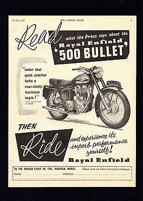 May 1957 Royal Enfield 500 Bullet Motorcycle. Magazine Advert.