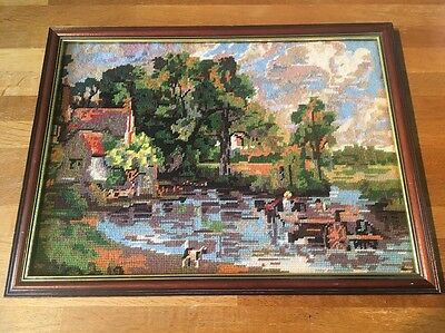 Vintage Completed Tapestry Needlepoint Old Haywain John Constable Scene English