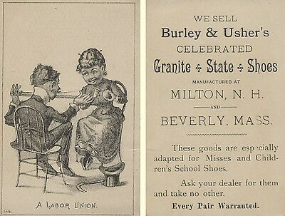Victorian Trade Card - A Labor Union - Winding Yarn - Granite State Shoes
