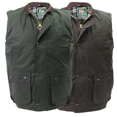 High Mount Wax Waistcoat 100% Cotton Oilskin Gilet Bodywarmer Country Farm Vest