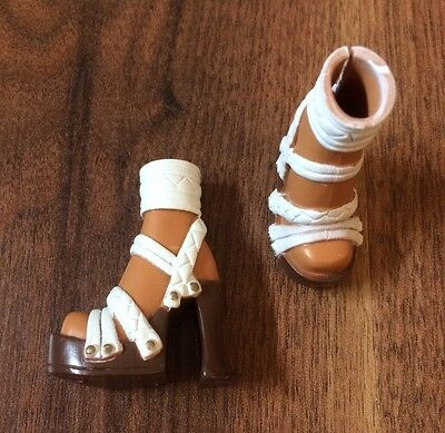 BARBIE My Scene Westley/Madison Shoes, White/brown Strappy Heels VGC
