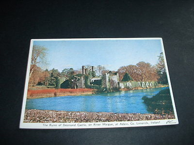 IRISH. POSTCARD RUINS OF DESMOND CASTLE ON RIVER MAIGUE AT ADARE Co LIMERICK