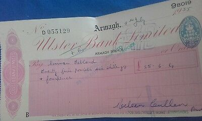 Ulster Bank Limited  £25..6..4 cheque 1955