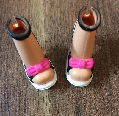 Barbie My Scene Black And White Heels With Pink Bow Detail, VGC