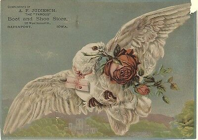 Large Victorian Trade Card - Bird with Rose in Beak and Letter Tied Around Neck