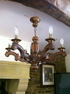 Stunning Large Antique French Hand Carved Oak Six Arm Chandelier 72 Cm Across