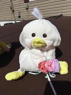 "Vintage 1988 Fisher Price Puffalump Easter Chick Duck Plush Pastel 8"" Rare 80s"