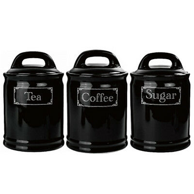 Set Of 3 Sugar Tea Coffee Canister Set Retro Ceramic Gift Lid Storage Black New