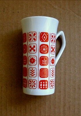 Vintage FINE CHINA of JAPAN Tall, Narrow CUP with Red Geometric Design