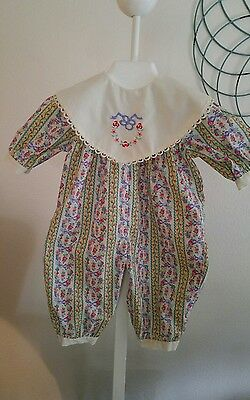 Vintage Floral Infant Baby Girl One Piece Coverall Jumper Romper~3-6 mths