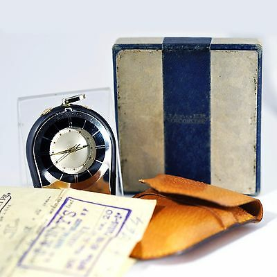 AUTHENTIC 1960s JAEGER LECOULTRE MEMOVOX ALARM TRAVEL CLOCK PAPERS POUCH BOX