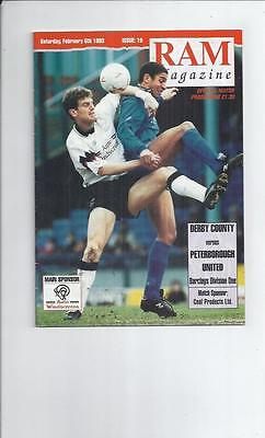Derby County v Peterborough United Football Programme 1992/93
