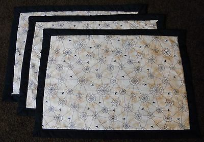 Country Cottage Set Of 3 Halloween Black Spiders & Webs Quilted Fabric Placemats