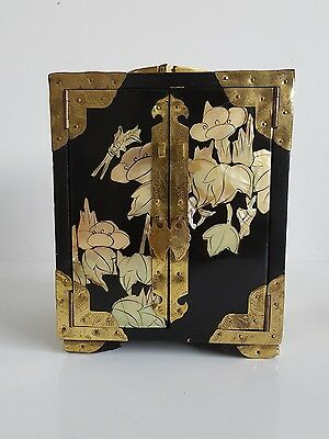 Chinese Black Laquered And Mother Of Pearl Inlayed Jewellery Cabinet