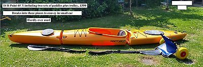 14 Point 65N Kayak....single seat hardly used breaks into three pieces for car