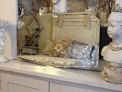 Antique Vintage Beveled Etched Glass Mirror W/ Chrome Frameless Art Deco Nice!