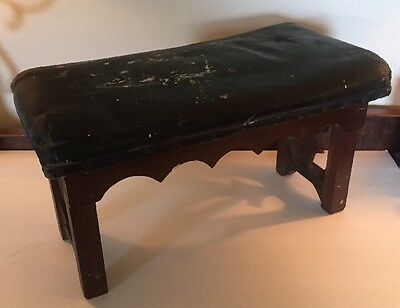 Antique Victorian Oil Cloth FOOTSTOOL Foot Stool Hand Carved 18x10hx9""