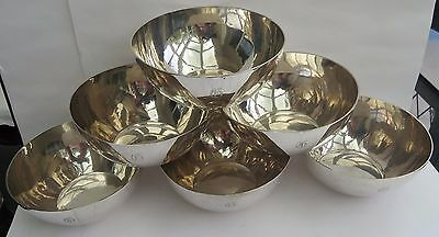 SUPERB SET OF 6 ANTIQUE CHINESE EXPORT SILVER RICE/FINGER BOWLS by WANG HING