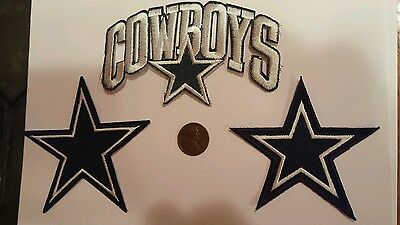 3 - Dallas Cowboys Vintage Embroidered Iron On Patch Lot (Old Stock)  NFL
