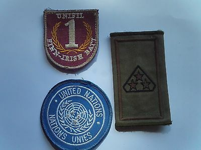 Irish Defence Force Army United nations Patches x 3 Named and Worn